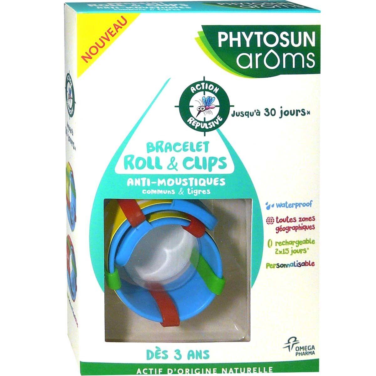 Phytosun aroms bracelet roll&clips anti-moustiques enfants des 3ans