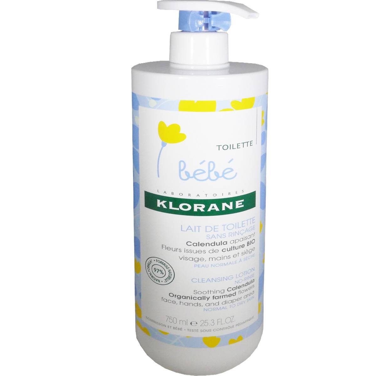 Klorane lait de toilette bio 750 ml