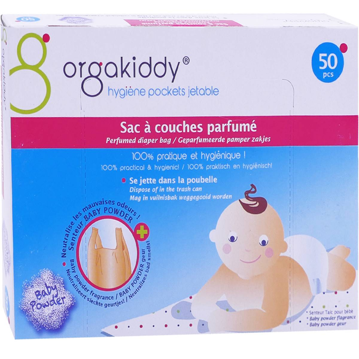 Orgakiddy 50 sacs a couches parfumes fraise
