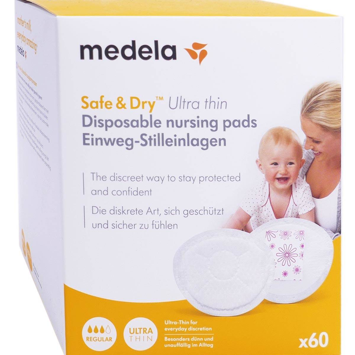 Medela safe & dry ultra thin regular coussinets x60