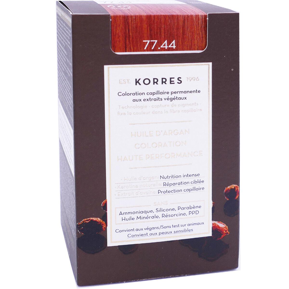 Korres coloration huile d'argan 77.44 intense copper blonde