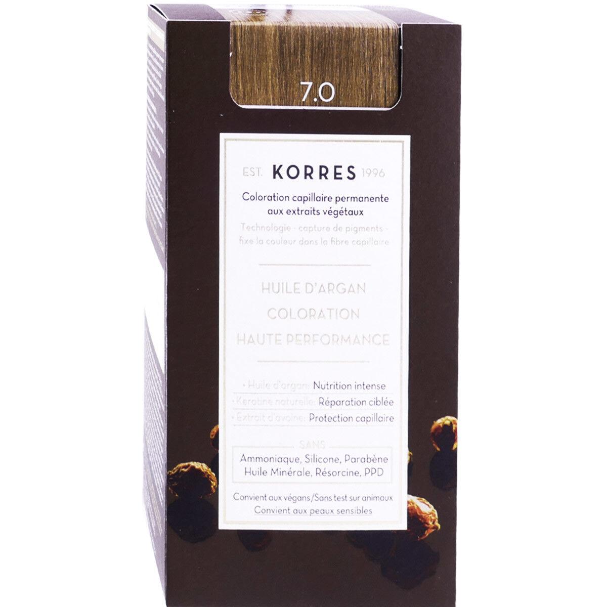 Korres coloration permanente huile argan blonde 7.0