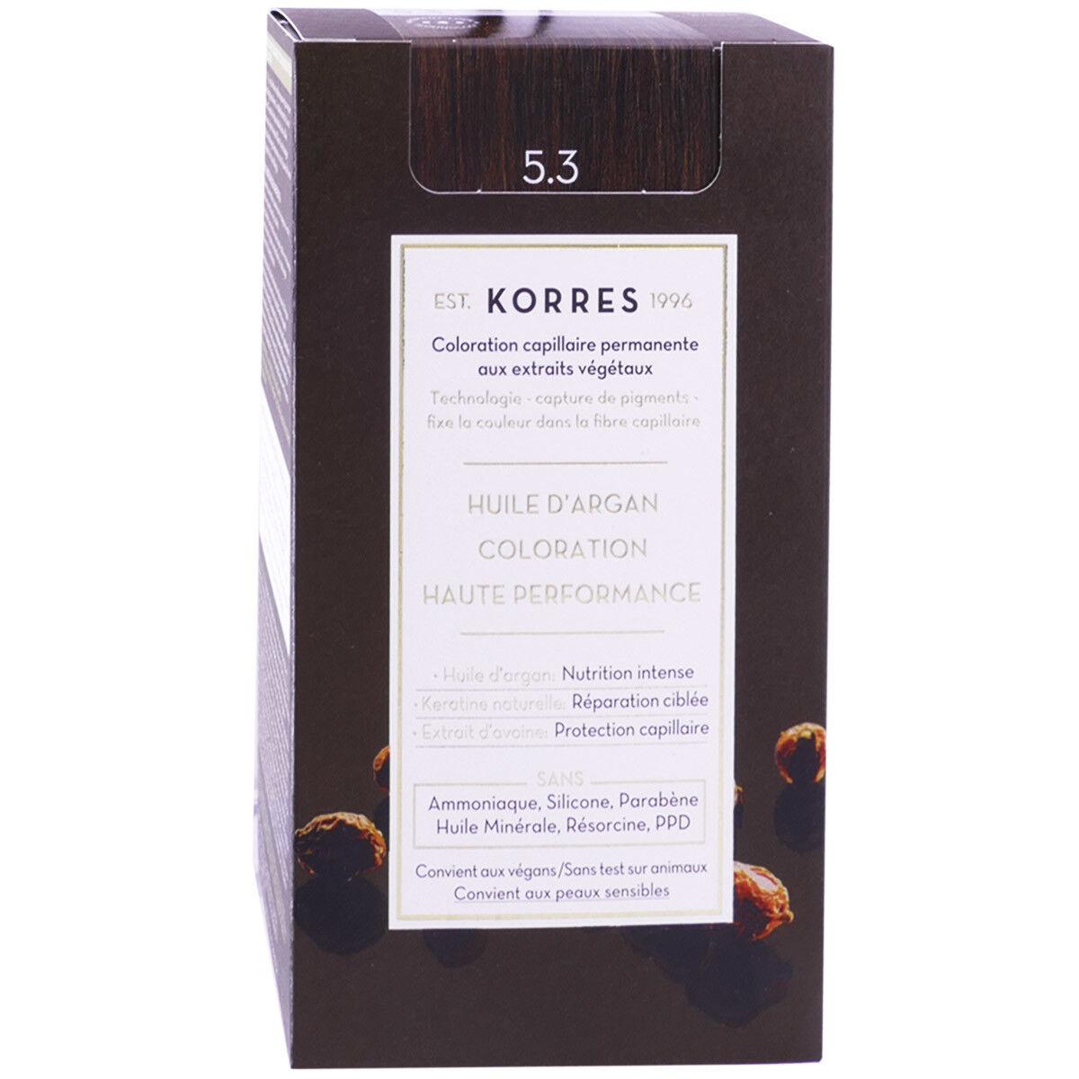 Korres coloration permanente huile argan golden 5.3