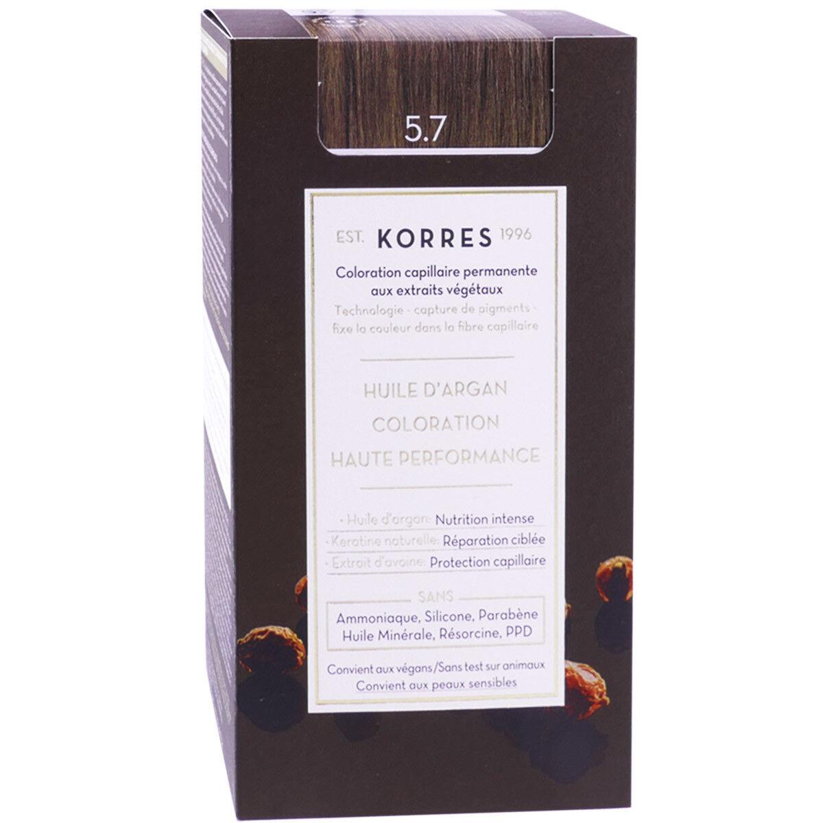 Korres coloration permanente huile argan chocolate 5.7