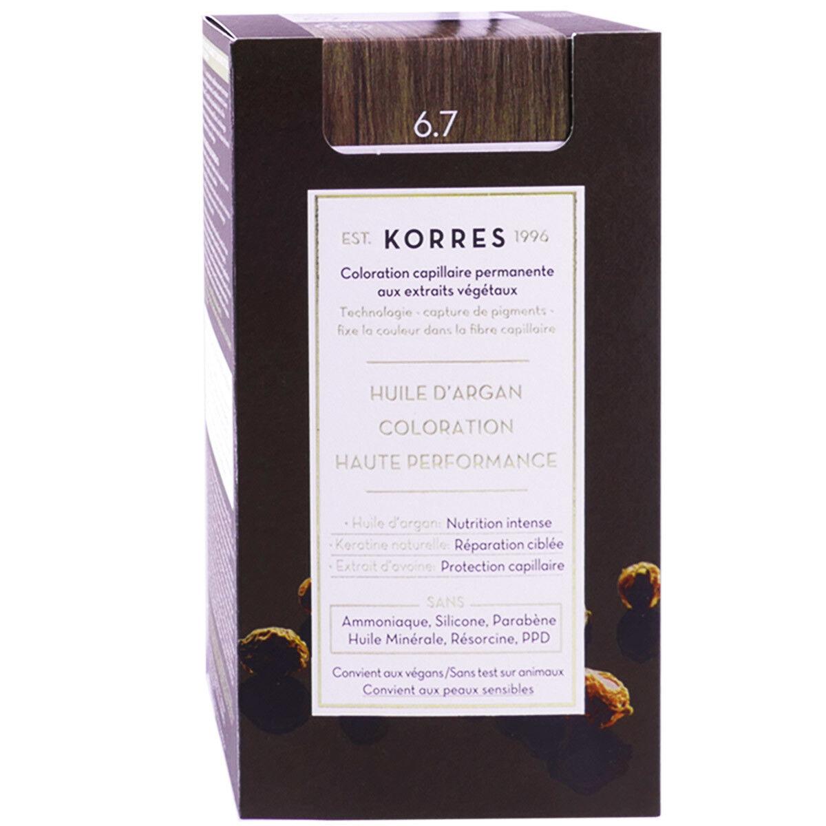 Korres coloration permanente huile argan cocoa 6.7