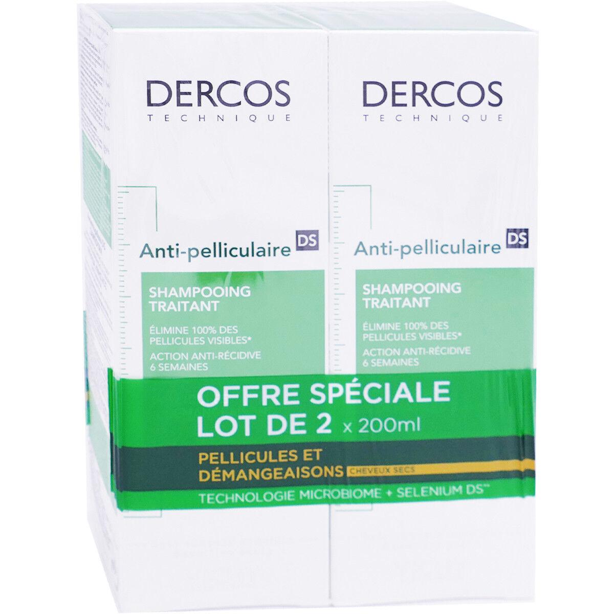 VICHY Dercos shampooing aniti-pelliculaire 2x200ml cheveux secs