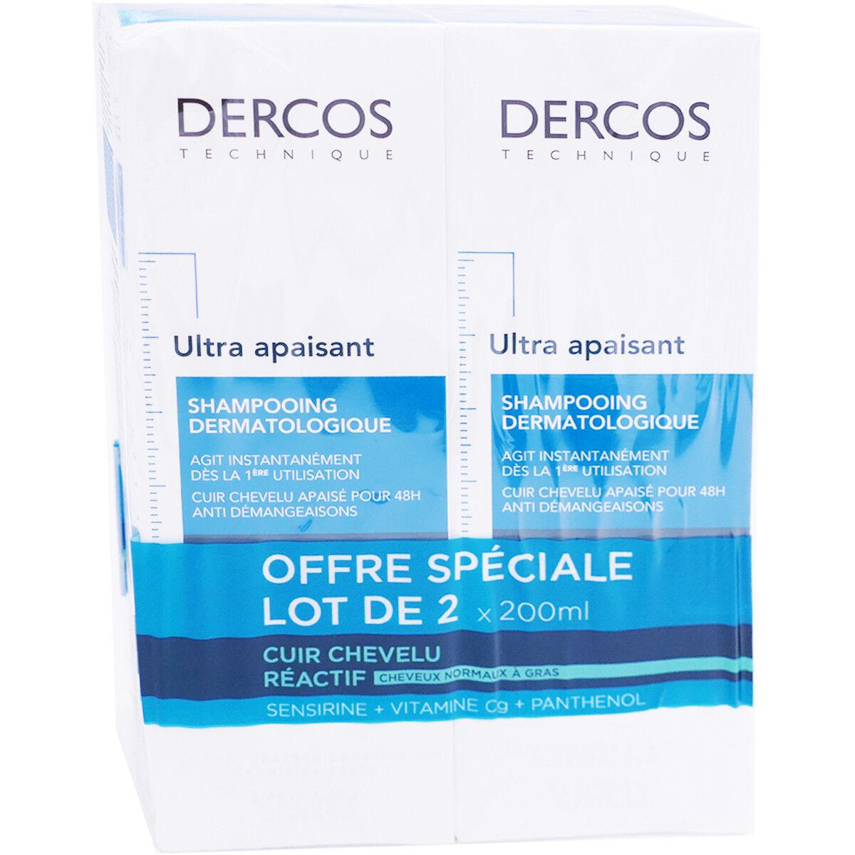 VICHY Dercos shampooing ultra apaisant 2x200ml cheveux normaux gras
