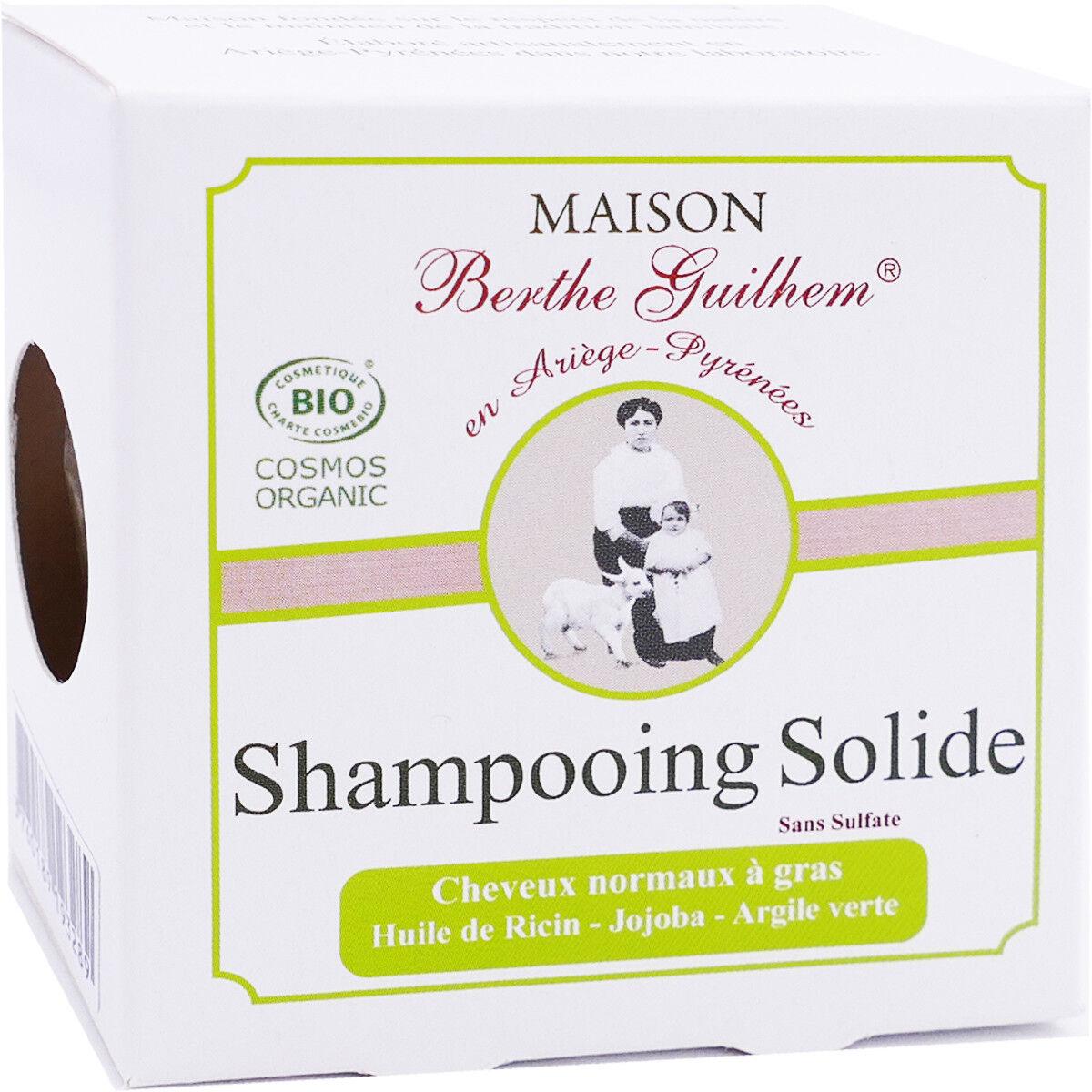 Berthe guilhem shampooing solide 100g huile de ricin jojoba argile verte