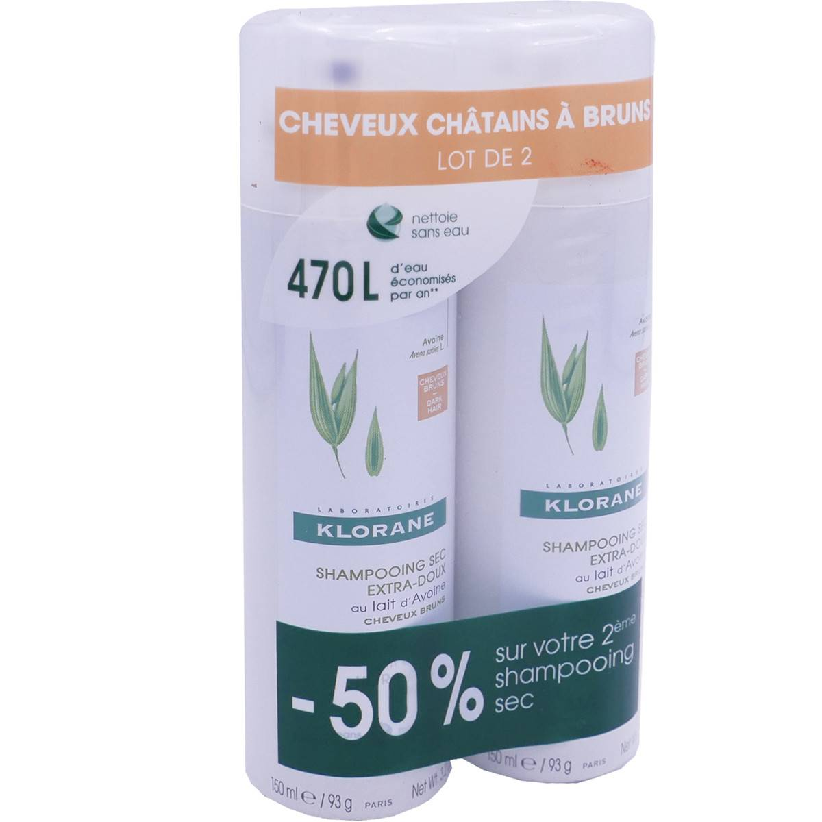 Klorane shampooing sec 2x 150 ml cheveux chatains a bruns