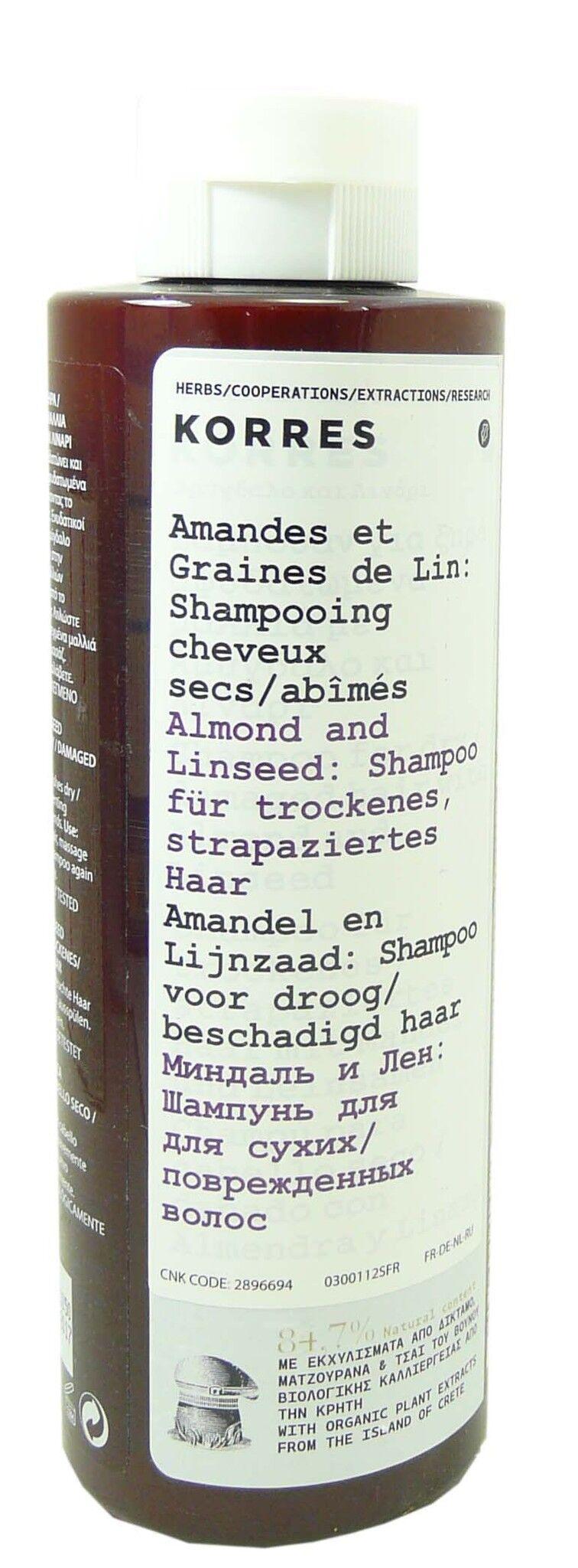 Korres shampooing amandes & graines de lin 250ml