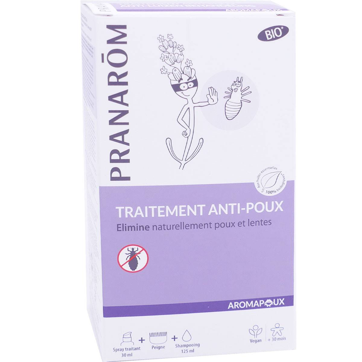 Pranarom traitement anti-poux aromapoux bio 2 soins + peigne