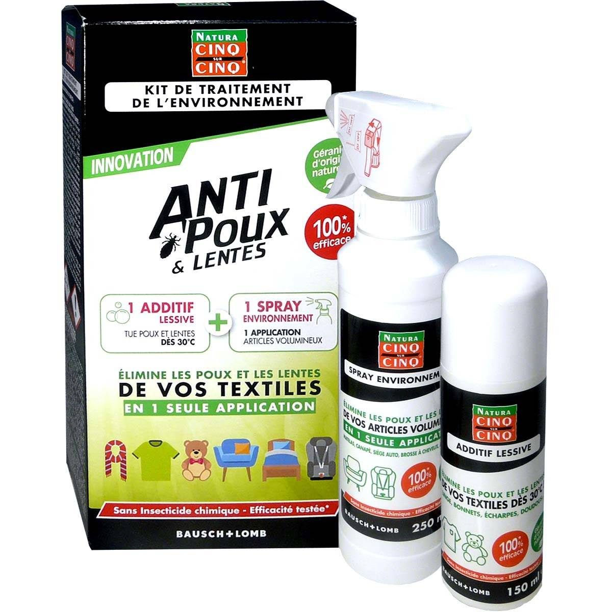 Cinq sur cinq natura anti-poux kit de traitement environnement