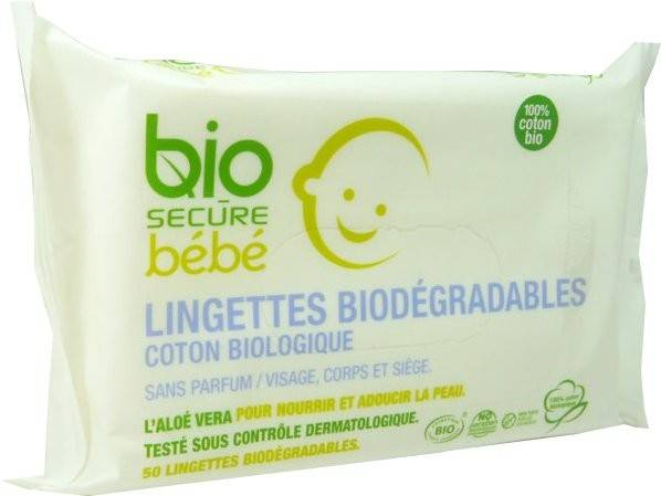 Bio secure bebe lingettes biodegradables 50x