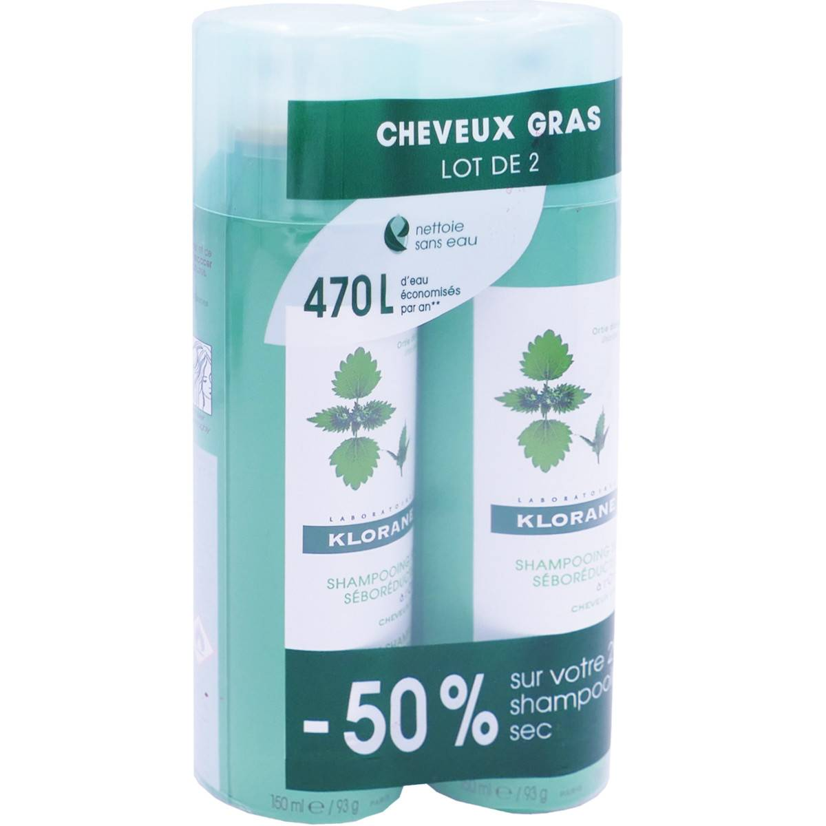 Klorane shampooing sec 2x 150 ml cheveux gras