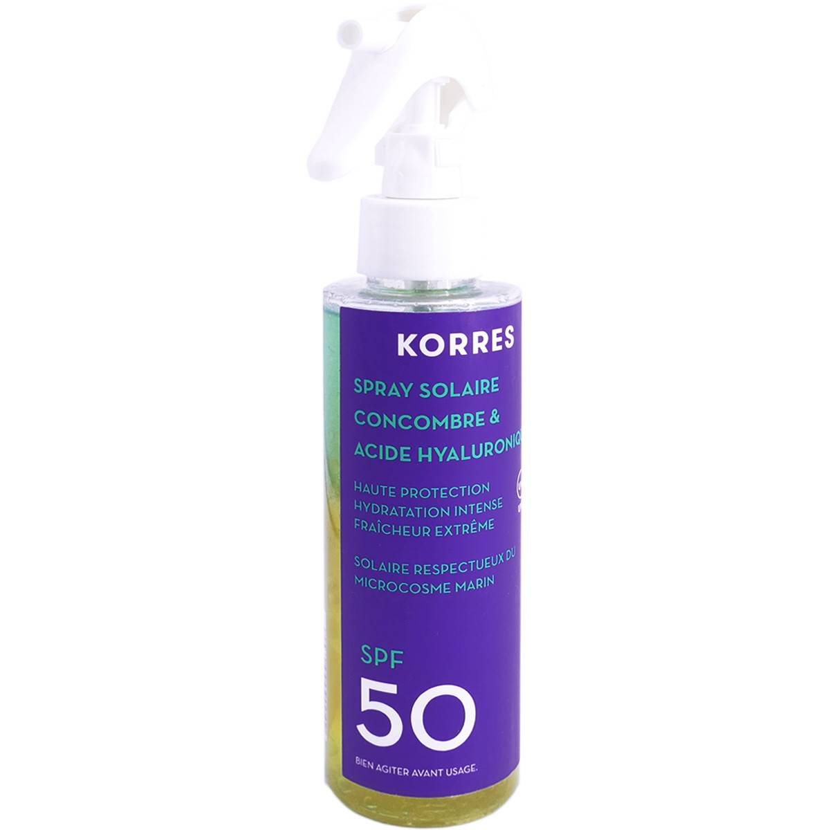 Korres spray solaire concombre & acide hyaluronique spf50 150ml
