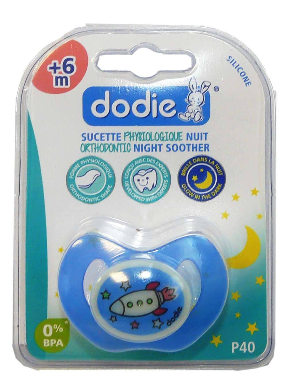 Dodie sucette orthodontic silicone nuit 6mois+