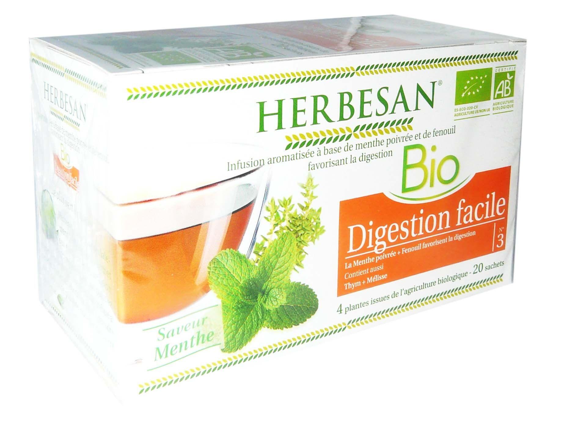 Herbesan bio digestion facile saveur menthe 20 sachets