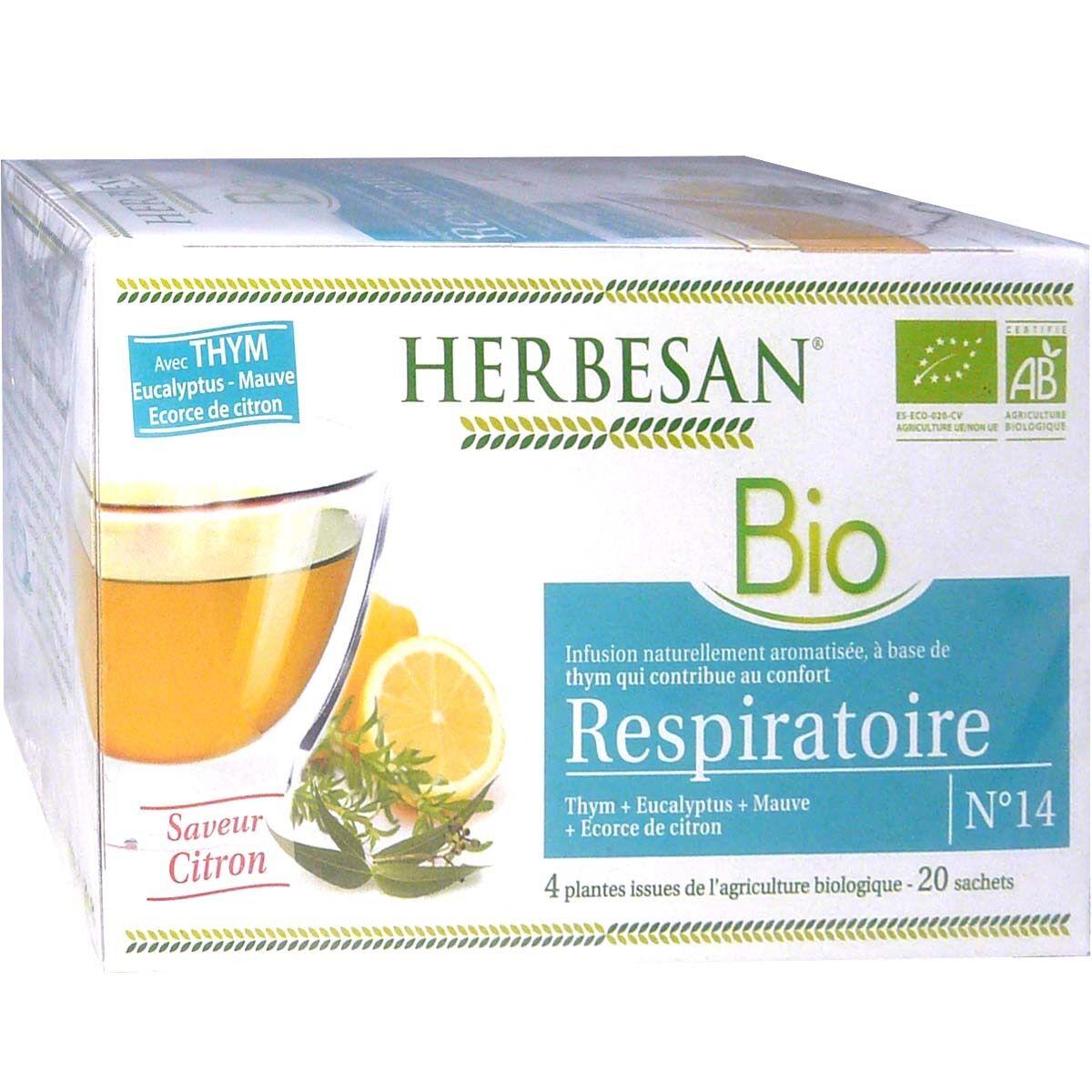 Herbesan infusion bio respiratoire gout citron x20 sachets