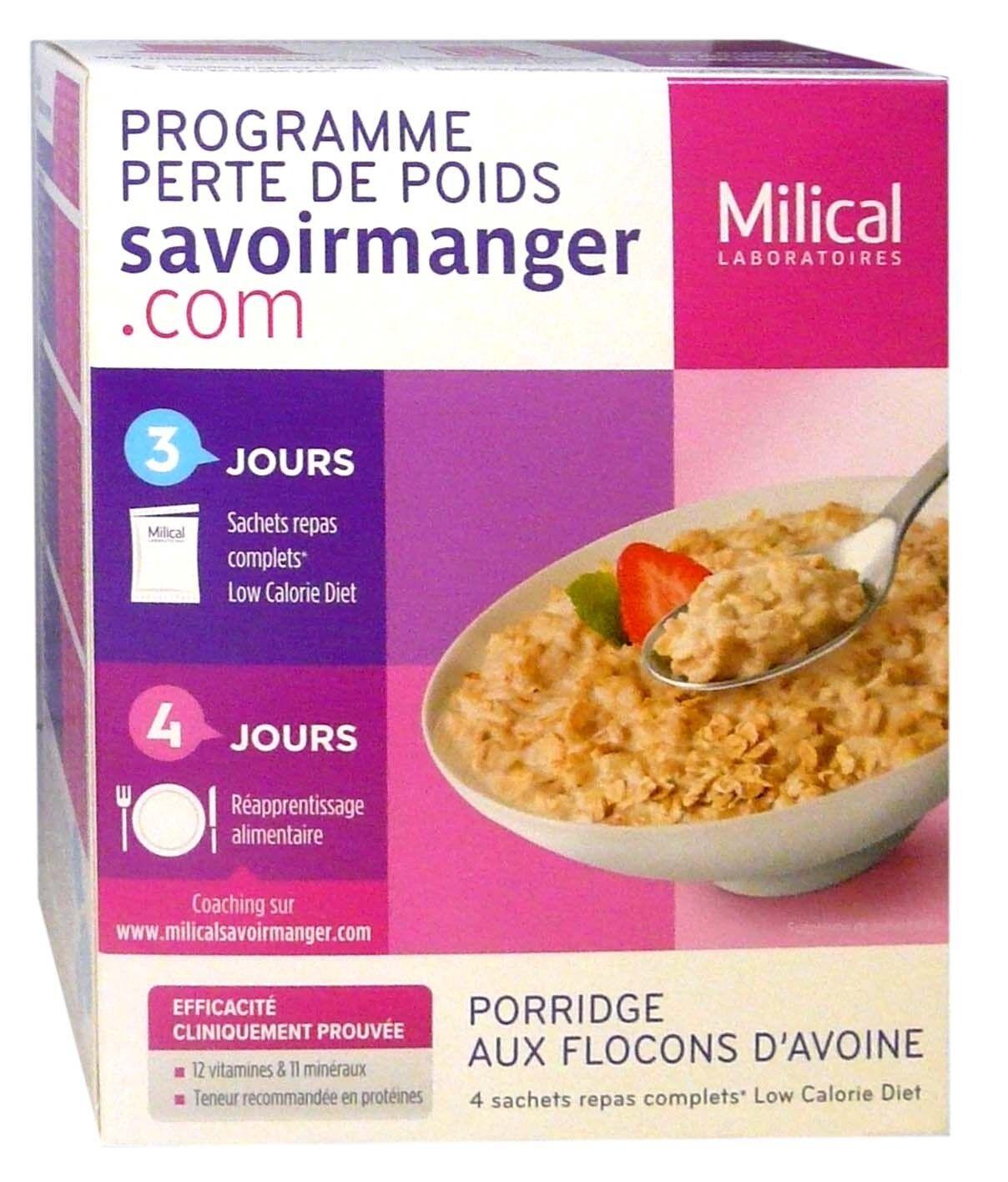 Milical  porridge aux flocons d'avoine 4 sachets repas complets