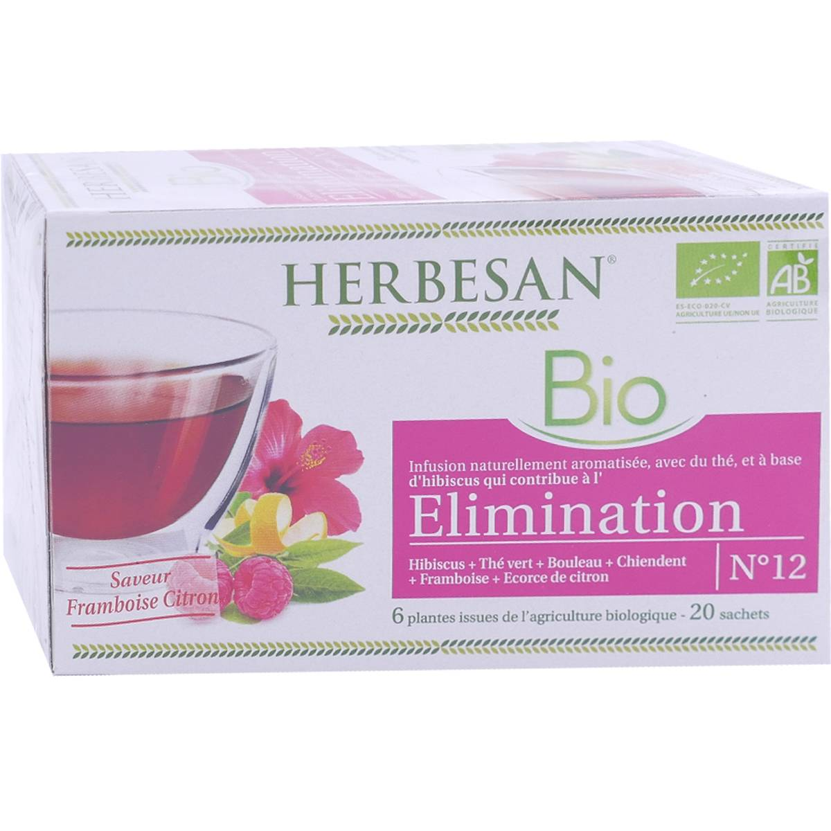 Herbesan bio elimination saveur framboise citron 20 sachets