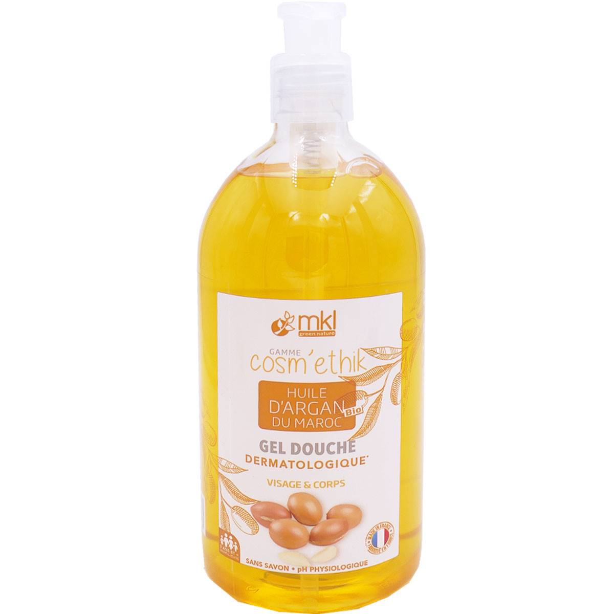 Mkl gel douche huile d'argan du maroc bio 1l