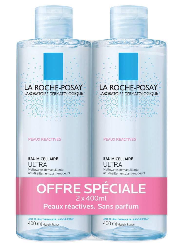 ROCHE POSAY La roche-posay eau micellaire ultra 2x 400 ml peaux reactive