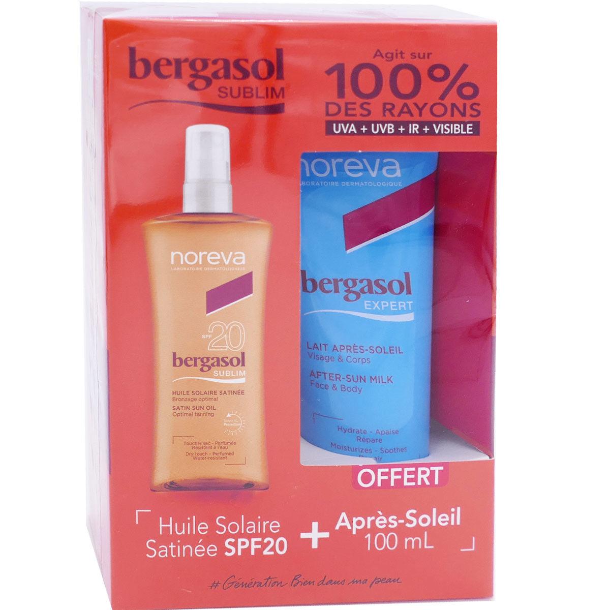 Bergasol sublim huile solaire satinee spf20 + apres soleil 100 ml