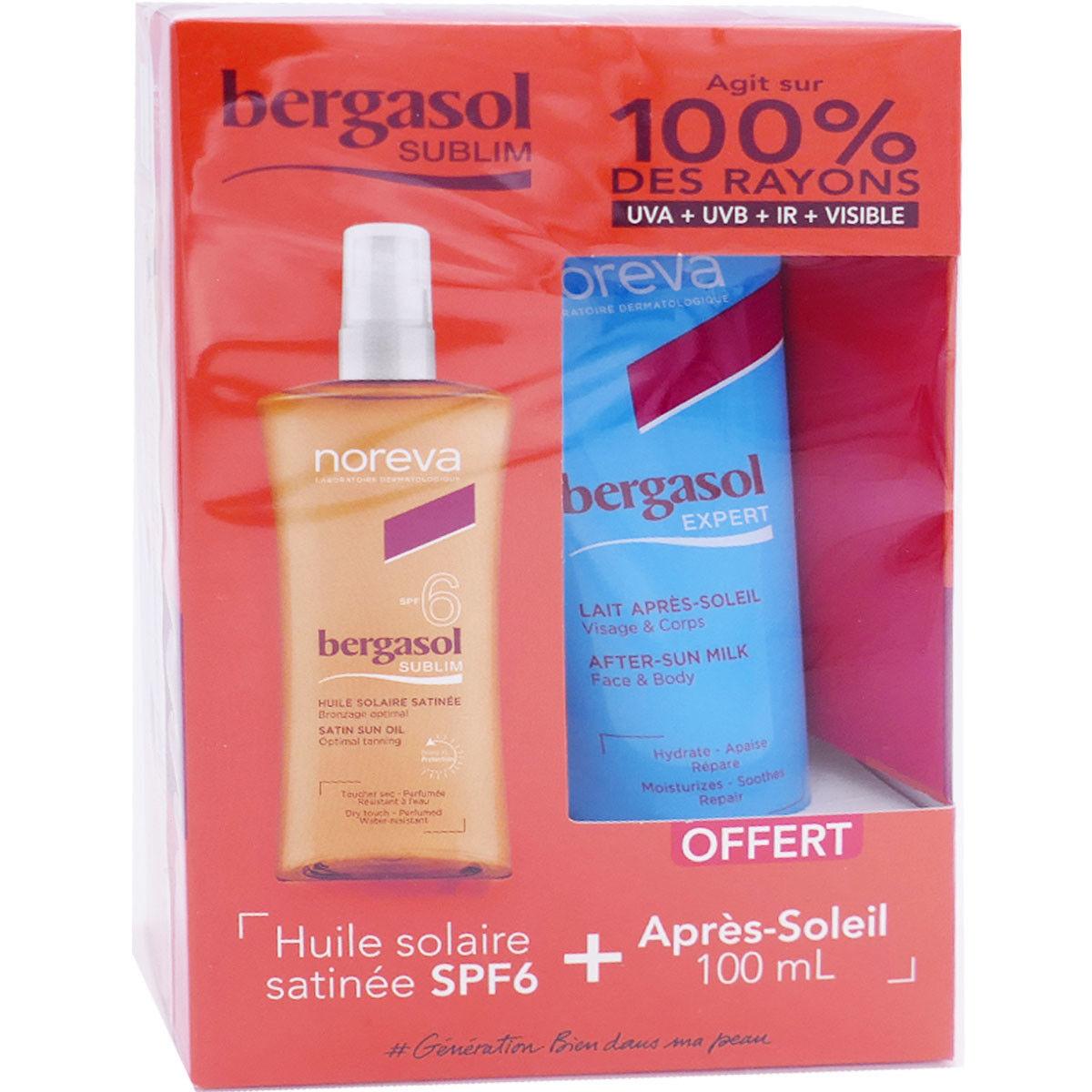 Bergasol sublim huile solaire satinee spf6 + apres soleil 100ml
