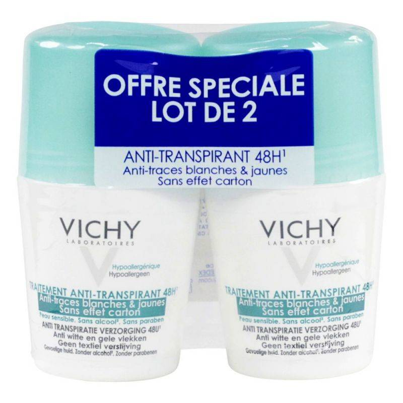 Vichy anti transpirant 48h anti traces blanches 2x50ml
