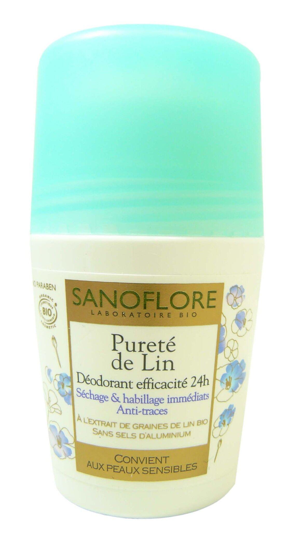Sanoflore deo roll on 24h purete de lin 50ml