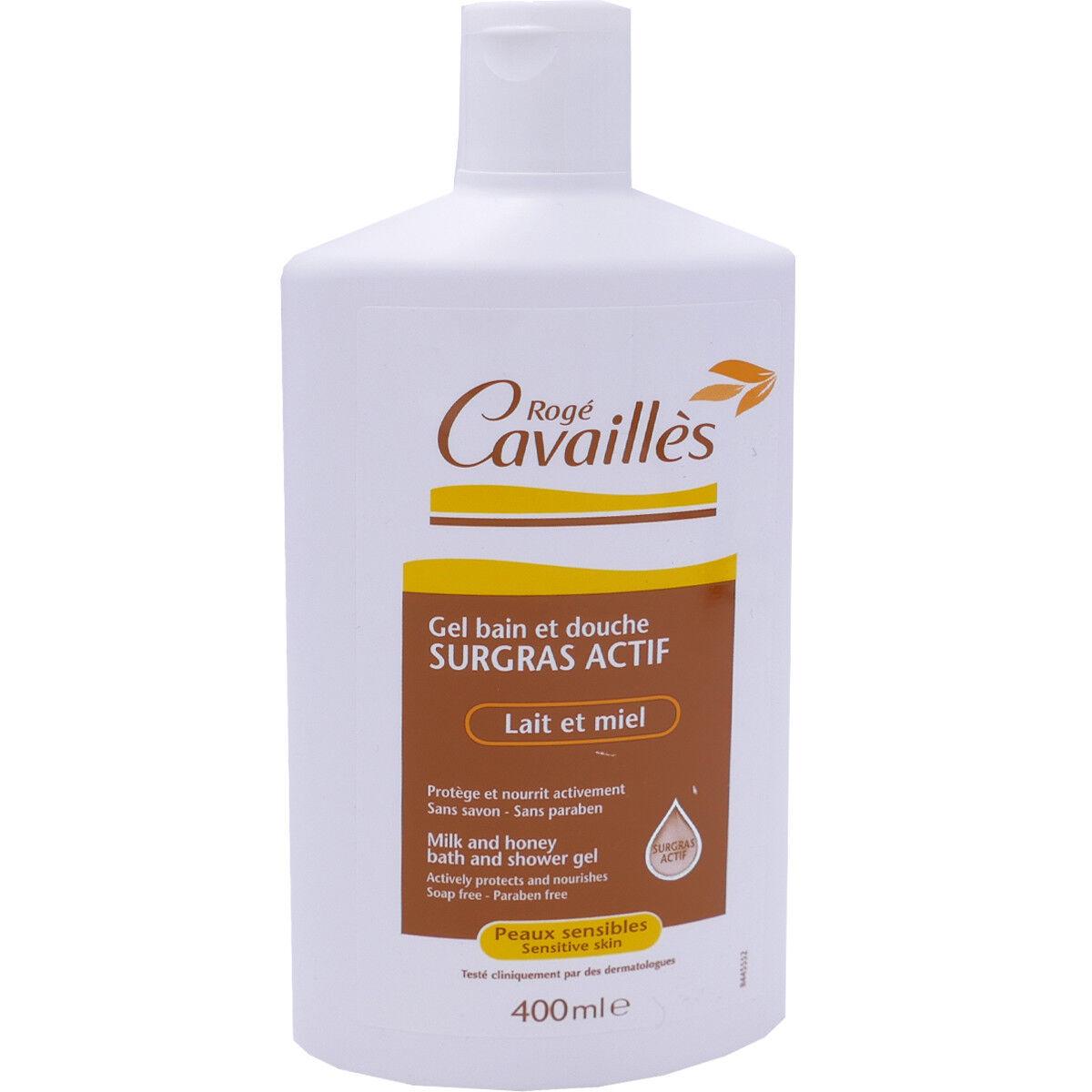 Roge cavailles gel douche surgras actif lait et miel 400 ml