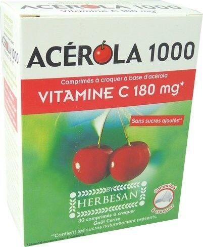 HERBESAN Acerola 1000 vitamine c 180mg a croquer herbesan