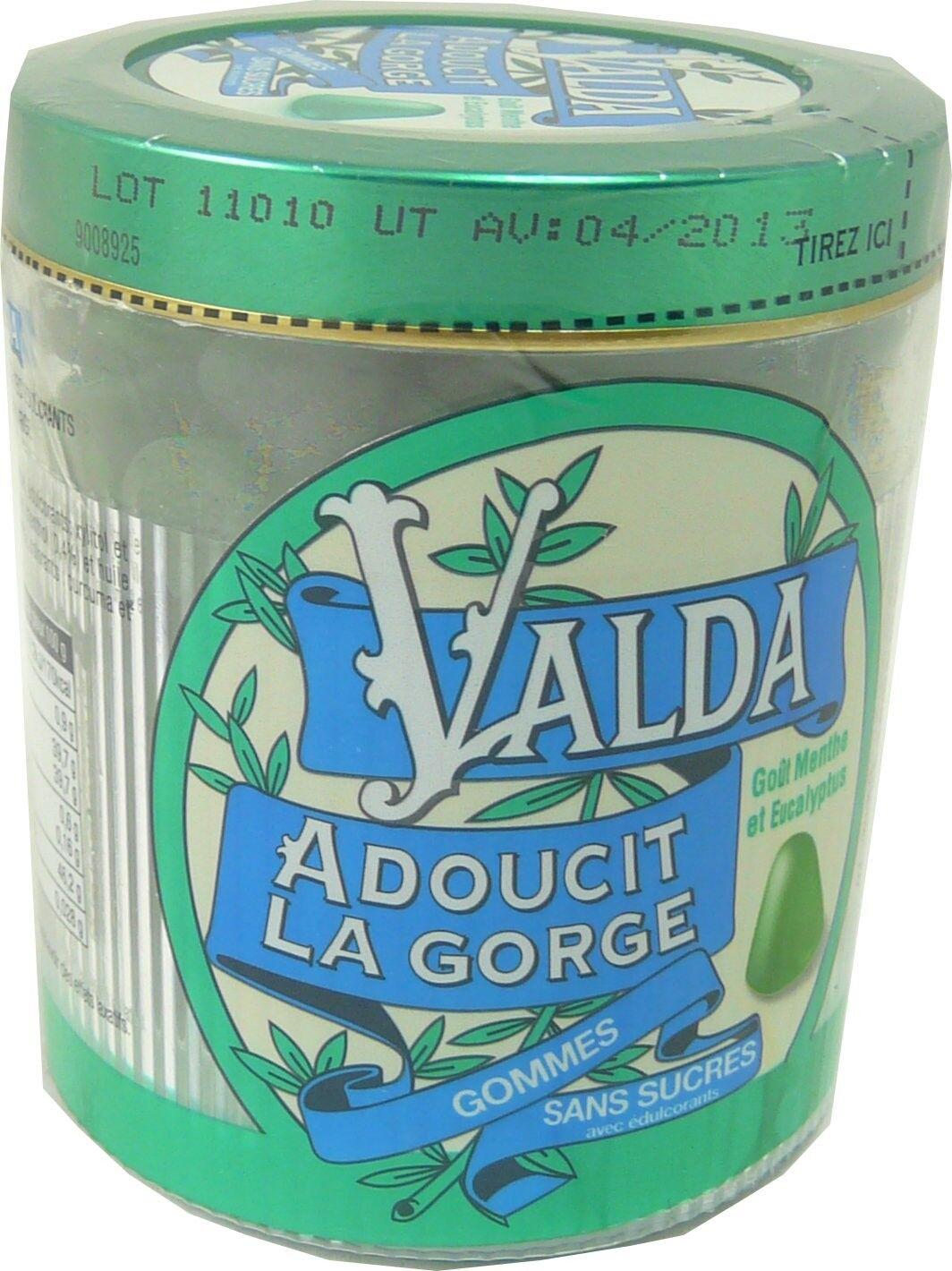 Valda adoucit la gorge gommes menthe eucalyptus sans sucres