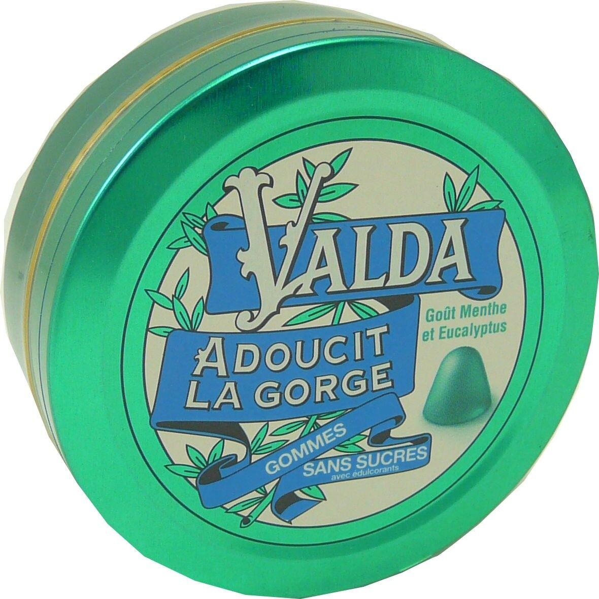 Valda adoucit la gorge menthe eucalyptus gommes sans sucres
