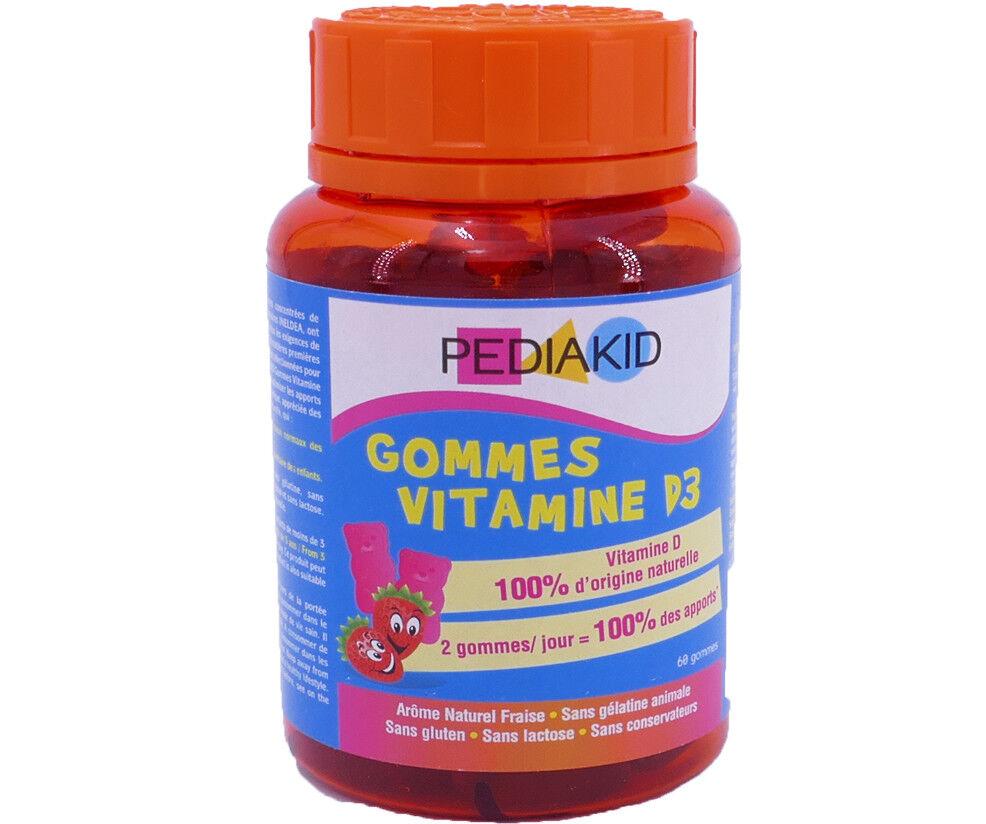Pediakid 60 gommes vitamine d3 arome naturel fraise