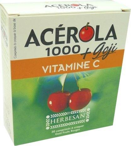 HERBESAN Acerola 1000 + goji vitamine c 30 comprimes herbesan