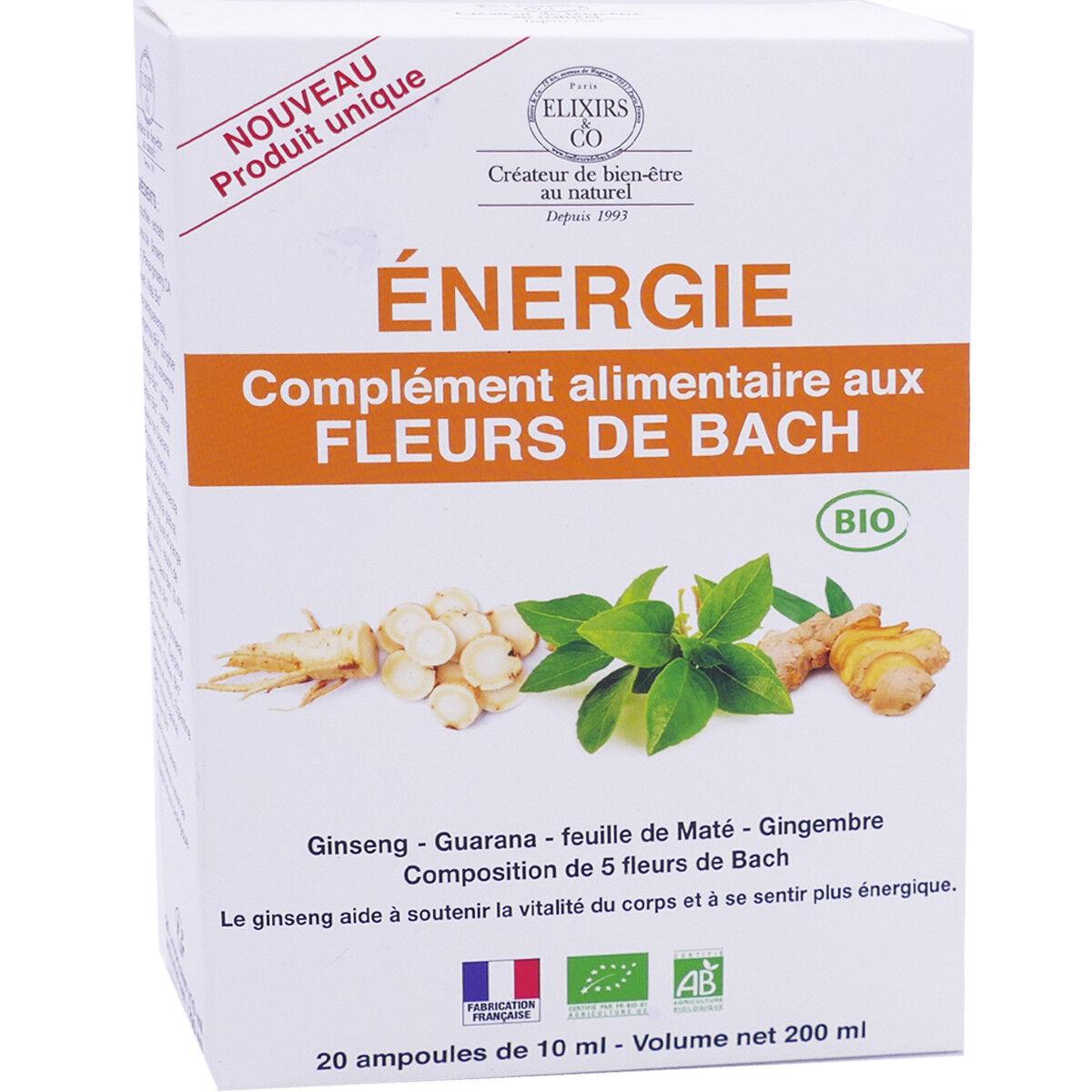 Elixirs & co energie fleurs de bach 20 ampoules 10 ml bio