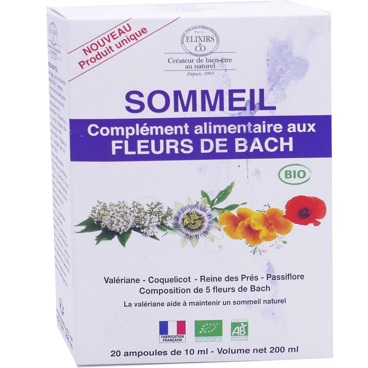 Elixirs & co sommeil fleurs de bach 20 ampoules 10 ml bio