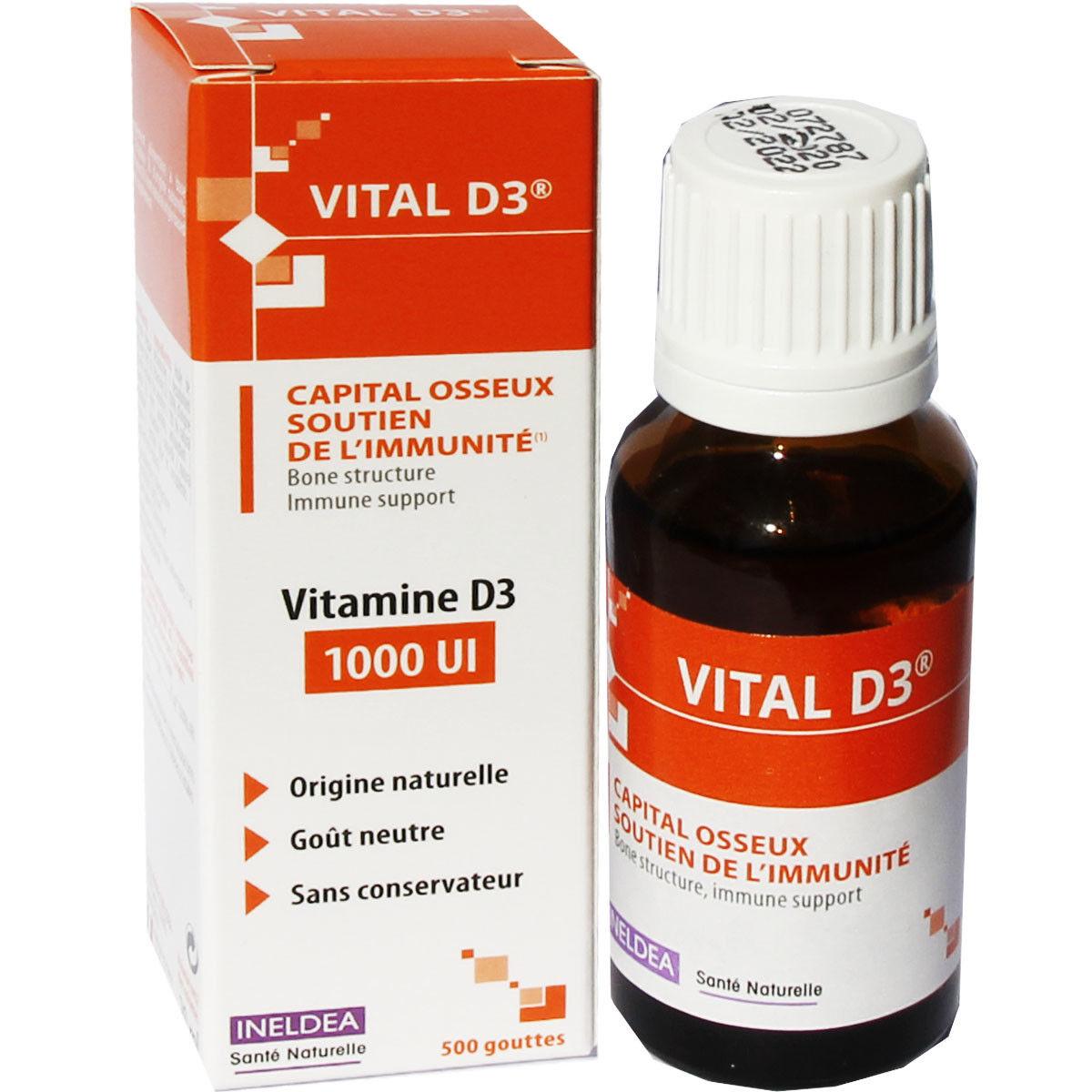 Ineldea vital d3 vitamine d3 1000ui 500 gouttes