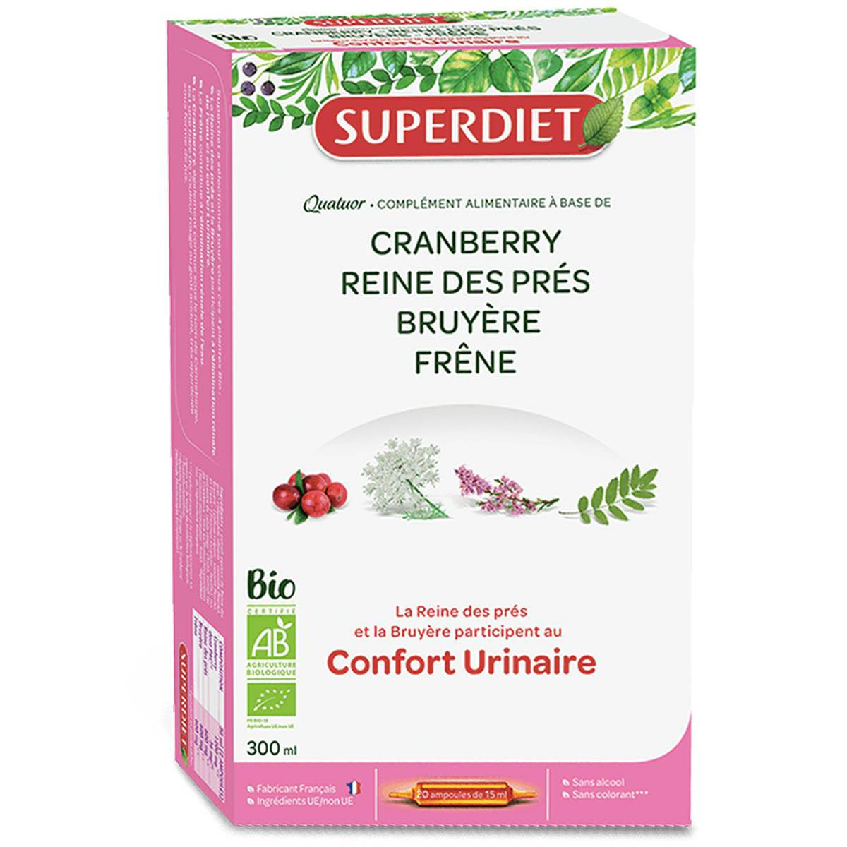 SUPER DIET Superdiet confort urinaire 20 ampoules 15 ml bio