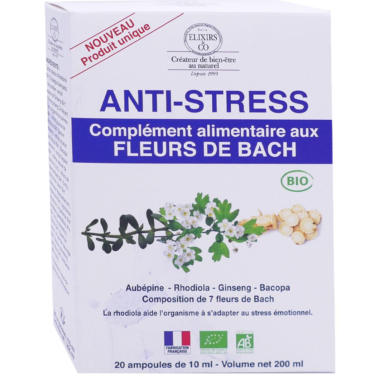 Elixirs & co anti-stress fleurs de bach 20 ampoules 10 ml bio