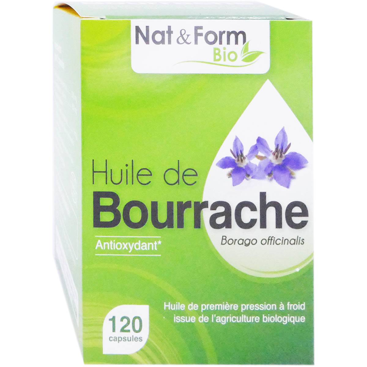 Nat & form huile de bourrache bio 120 capsules