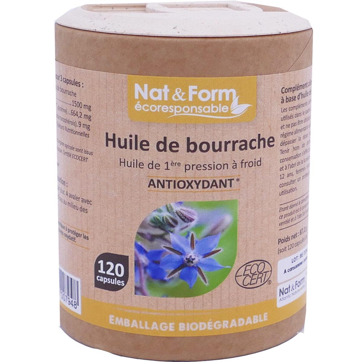 Nat & form hulie de bourrache antioxydant 120 capsules