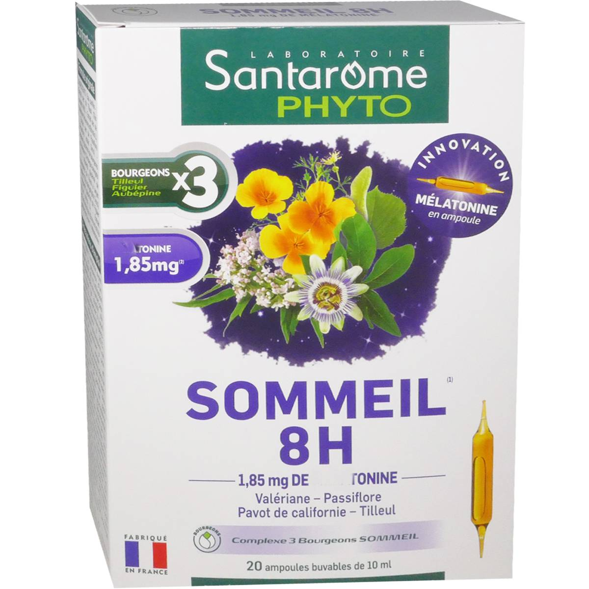 SANTAROME BIO Santarome phyto sommeil 8h 20 ampoules x 10