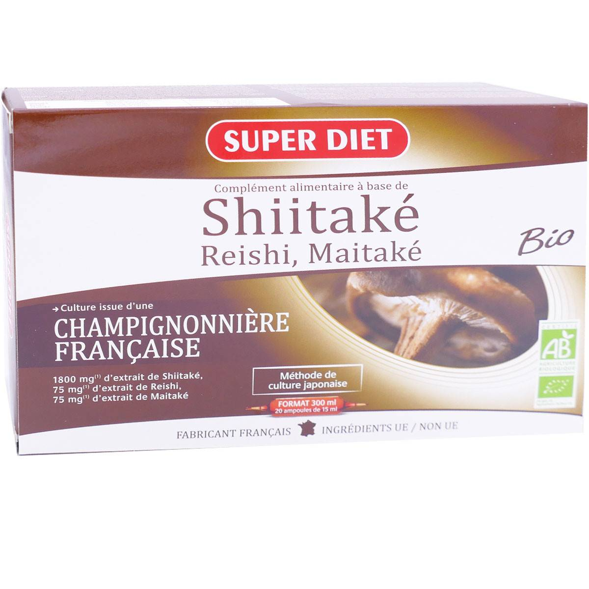 Super diet shiitake 20 ampoules 15ml bio