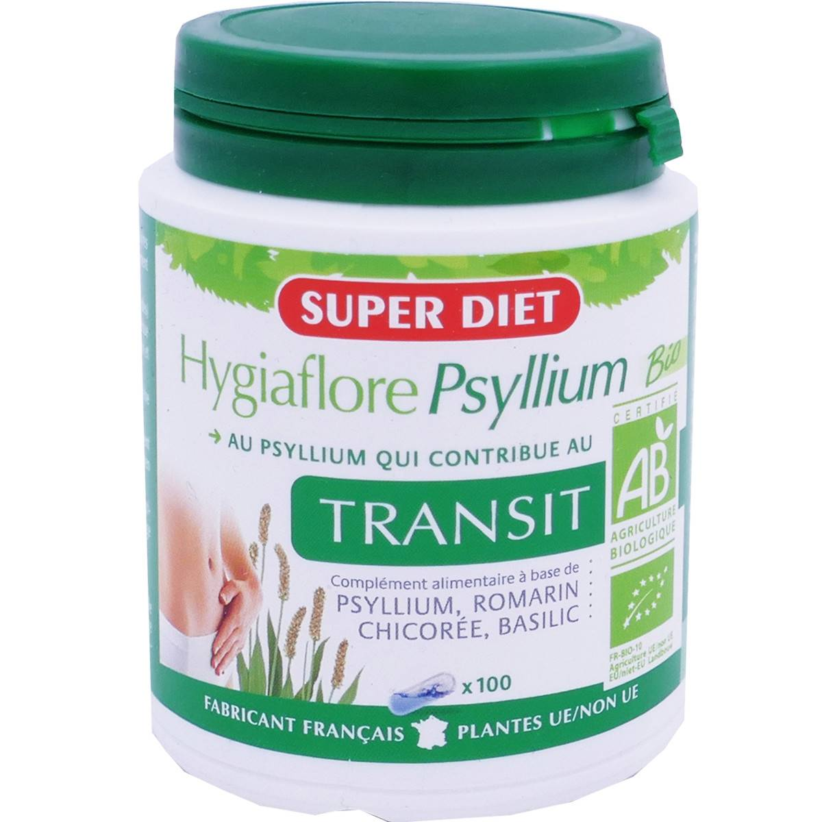 SUPER DIET Superdiet hygiaflore psyllium bio transit 100 gelules