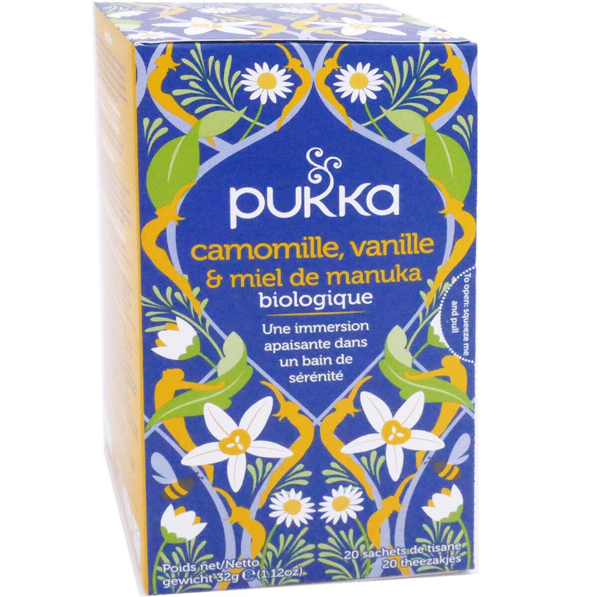 Pukka tisane 20 sachets camomille vanille miel de manuka