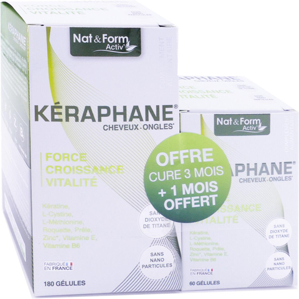Nat & form keraphane cheveux ongles 180 gÉlules
