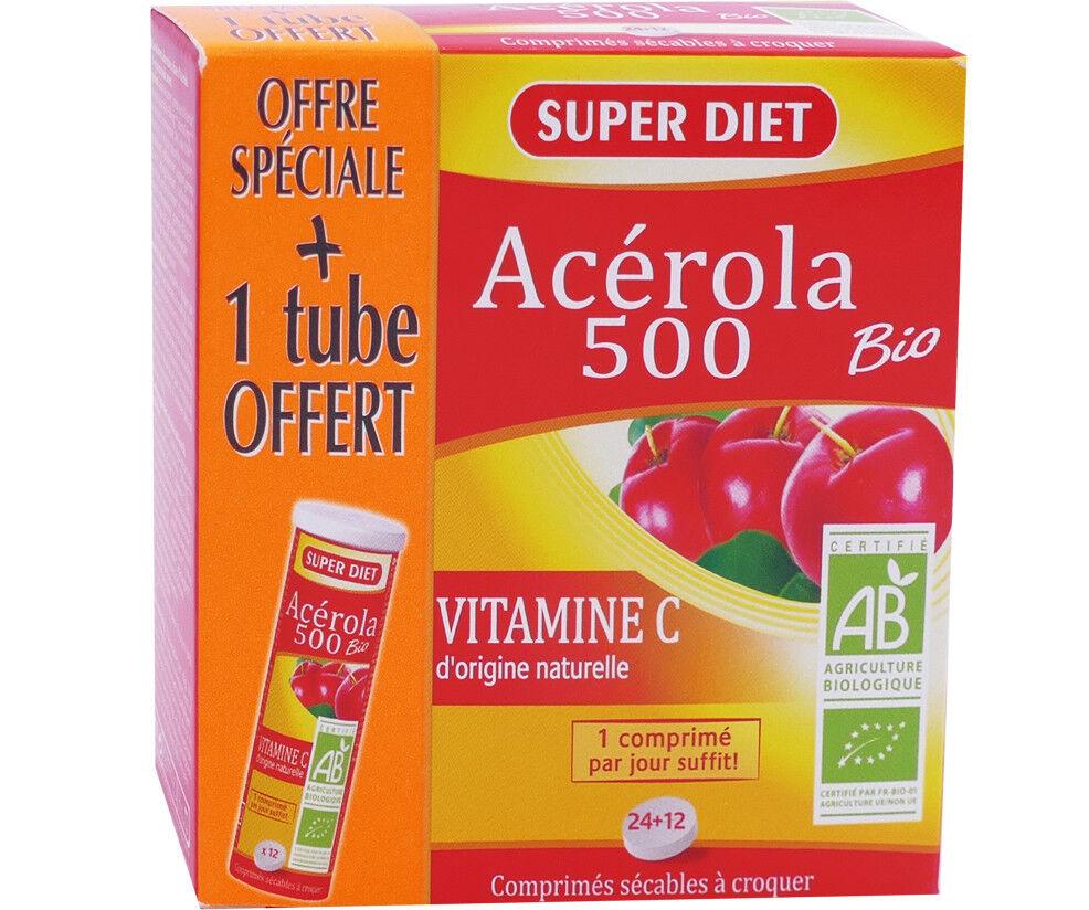 SUPER DIET Superdiet acerola 500 bio vitamine c 36 comprimes