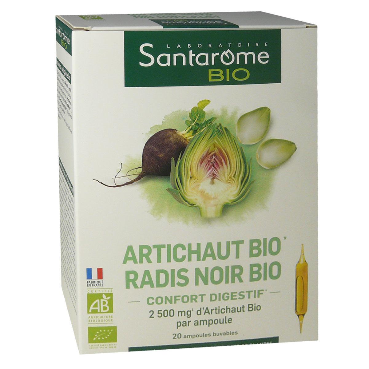 Santarome bio artichaut radis noir 10 ml 20 ampoules